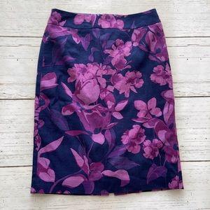 Banana Republic Navy Purple Floral Pencil Skirt